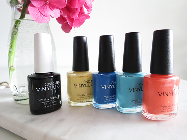 CND Vinylux summer 2016 collection: Desert Poppy, Honey Darlin', Date Night, Aqua-intance