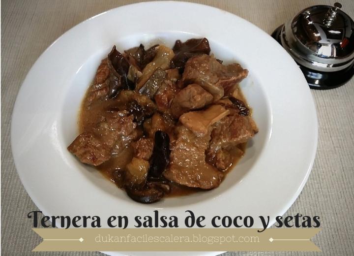 Ternera en salsa de coco y setas,receta para a partir del martes de la escalera nutricional o día de pv de la dieta dukan clásica.Una redceta deliciosa y diferente.