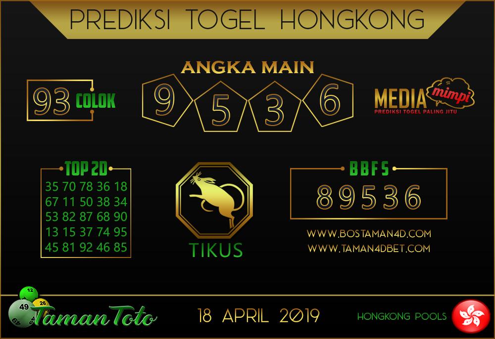 Prediksi Togel HONGKONG TAMAN TOTO 18 APRIL 2019