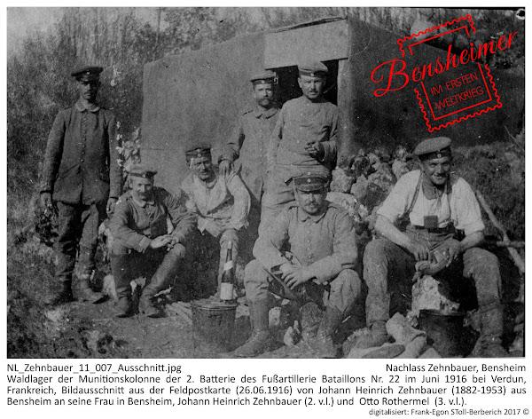 NL_Zehnbauer_11_007_Ausschnitt.jpg; Nachlass Zehnbauer, Bensheim; Waldlager der Munitionskolonne der 2. Batterie des Fußartillerie Bataillons Nr. 22 im Juni 1916 bei Verdun, Frankreich, Bildausschnitt aus der Feldpostkarte (26.06.1916) von Johann Heinrich Zehnbauer (1882-1953) aus Bensheim an seine Frau in Bensheim, Johann Heinrich Zehnbauer (2. v.l.) und  Otto Rothermel  (3. v.l.); digitalisiert: Frank-Egon Stoll-Berberich 2017 ©.