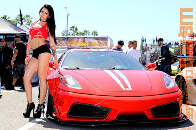 Leggy Clarissa Mendez in red hot top and black short by the JDM Westcoast red car
