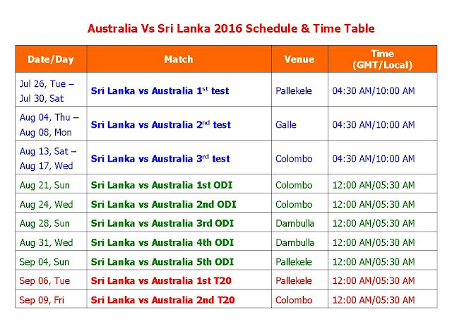 Australia Vs Sri Lanka 2016 Schedule & Time Table,Australia tour of Sri Lanka 2016,AUS vs SRI 2016 series,Sri Lanka vs Australia 2016 schedule,fixture,time table,local time,GMT IST local time,match detail,Sri Lanka Australia July 2016 series,ODI series,test series,t20 series,full match schedule,icc cricket calendar,all schedule,Australia vs Sri Lanka 2016,cricket schedule,venue,day date,place,match timing Australia tour of Sri Lanka 2016 5 ODIs, 3 Tests, 2 T20s  From Jul 26-2106 to Sep 09-2016  Click here for more detail..