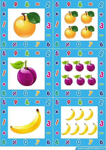 singular plural noun picture flashcards, food flashcards