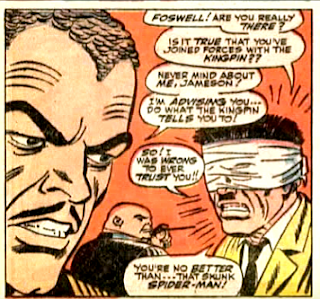 Amazing Spider-Man #51, john romita, fred foswell looks on as the kingpin holds j jonah jameson prisoner and blindfolded