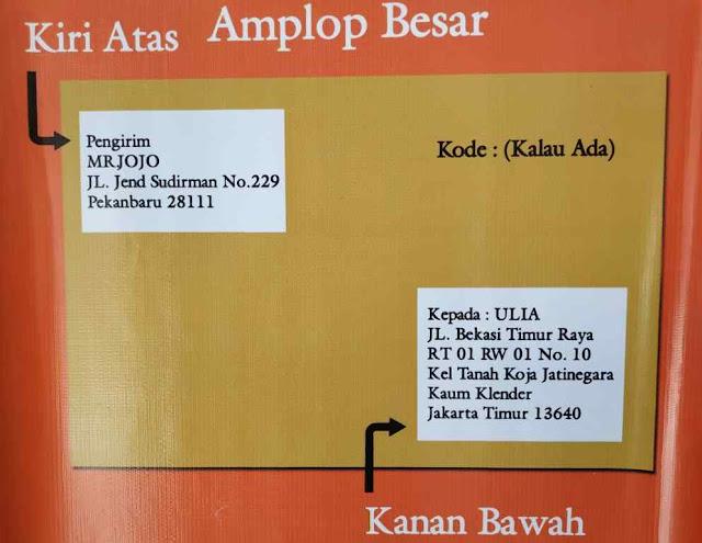Contoh Penulisan Alamat Surat Pada Amplop Besar / Amplop Padi / Amplop A4