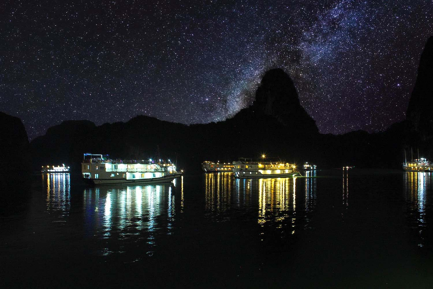 halong bay night galaxy sky