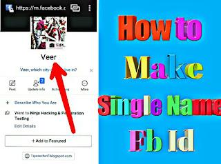 Single name fb account kaise banaye