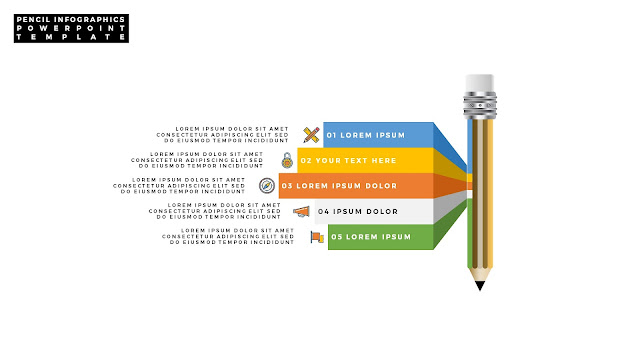 Infographic Pencil PowerPoint Template with Number Option Slide 12