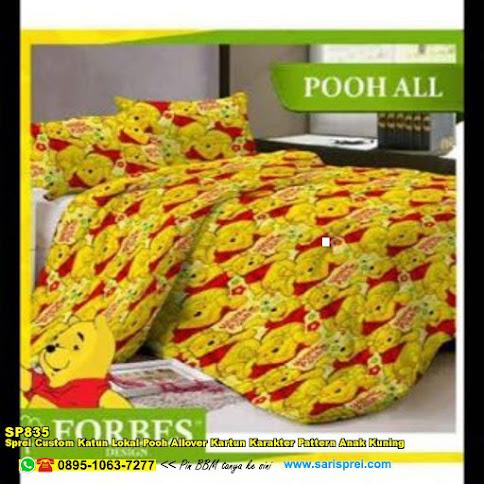 Sprei Custom Katun Lokal Pooh Allover Kartun Karakter Pattern Anak Kuning