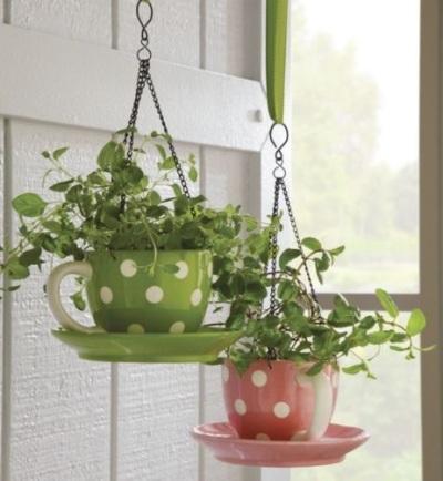 Cangkir motif polkadot menjadi pot bunga gantung yang cantik untuk menjadi hiasan di depan rumah.