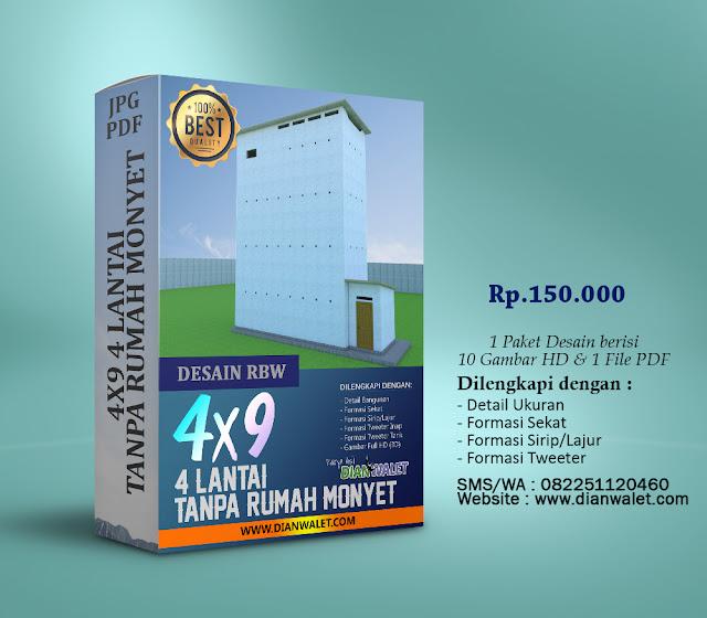 Desain Rumah Burung Walet 4X9 4 Lantai Tanpa Rumah Monyet