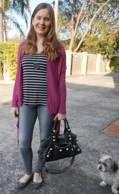 jeanswest cecile grey skinny jeans stripe tank purple cardigan daycare drop off pick up style   AwayFromBlue