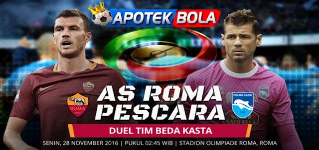 Prediksi Pertandingan AS Roma vs Pescara 28 November 2016