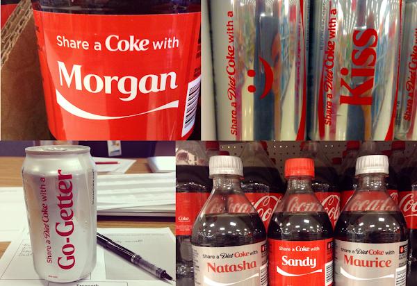 印有姓名、表情符號、流行用語的可樂瓶