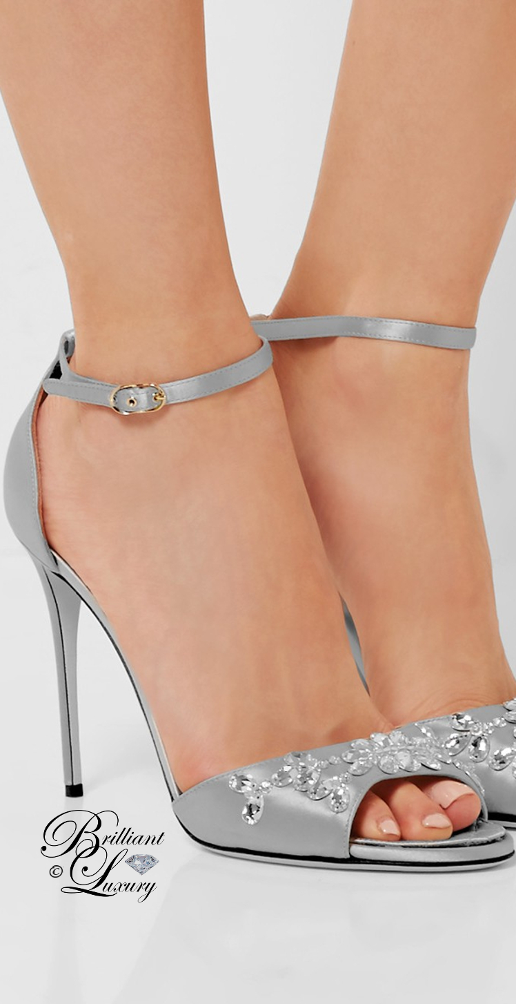 Brilliant Luxury ♦ Dolce & Gabbana Swarovski Crystal-Embellished Satin Sandals