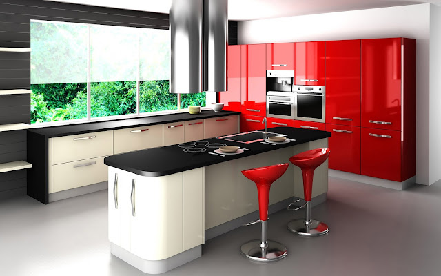 Model Desain Kitchen Sets Merah Minimalis Modern