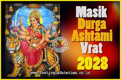 2028 Masik Durgashtami Vrat Date & Time, 2028 Masik Durgashtami Vrat Calendar