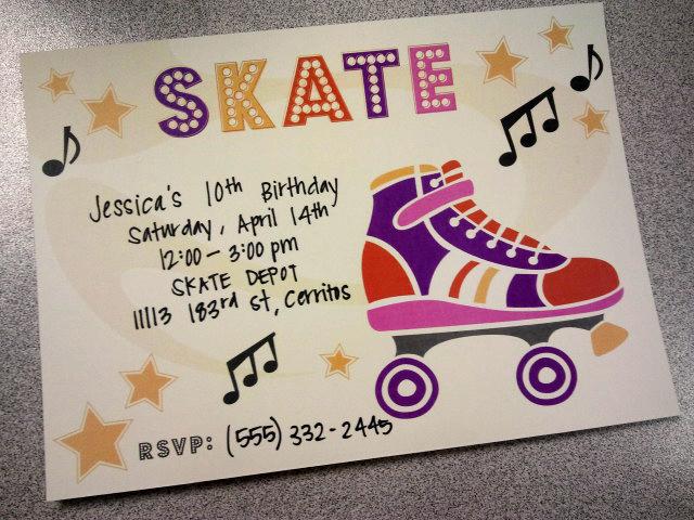 River Amp Bridge Retro Roller Skate Party Invitation