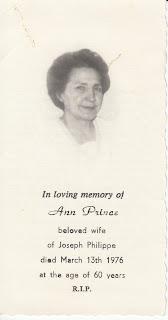 Ann Philippe funeral card