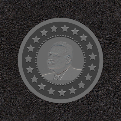 The final result of the portrait engraved on metal coin