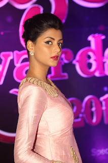 Anisha Ambrose looks absolutely gorgeous in Spicy Peachy anarkali dress at Apsara Awards 2016