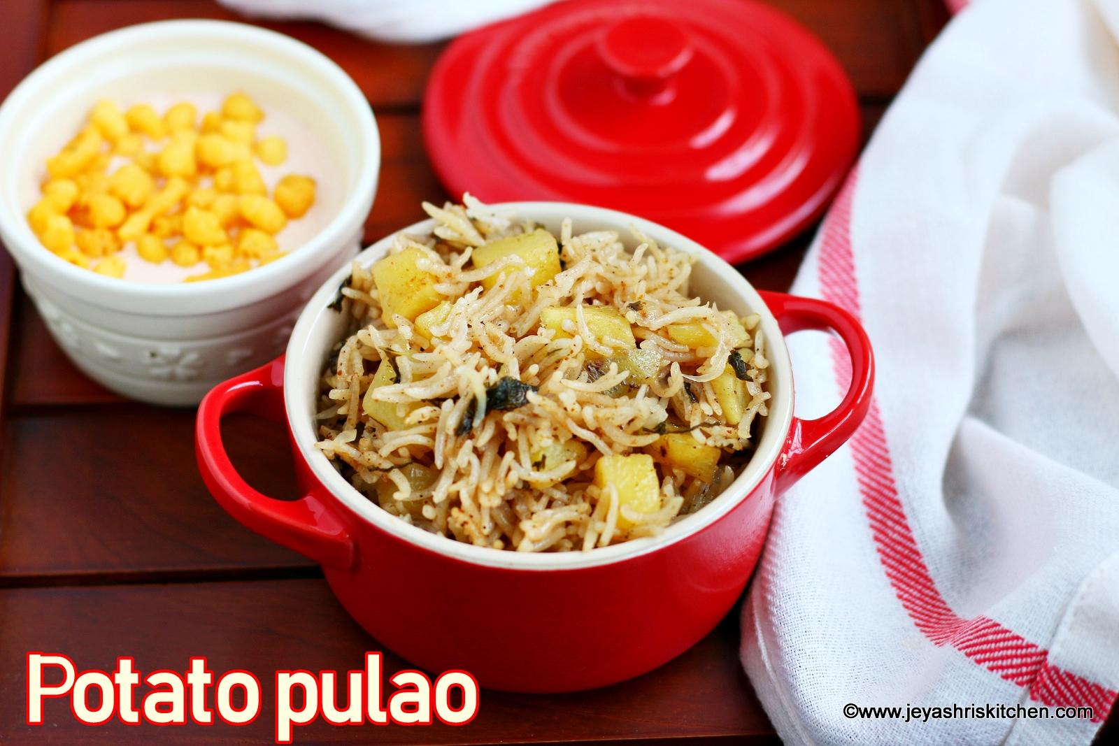 Jeyashris kitchen a vegetarian food blog with detailed step wise potato pulao recipe how to make aloo pulao forumfinder Choice Image