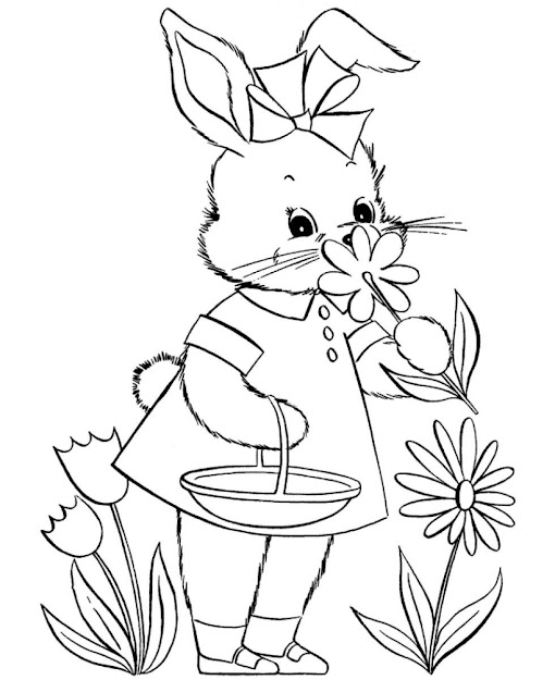 Easter Egg And Flowers Coloring Page Cute Easter Bunny Picking Flower  Coloring Pages
