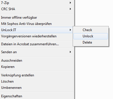 Kontextmenü mit Unlock IT Integration