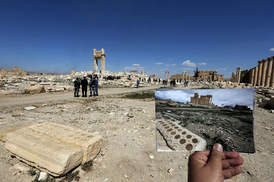 Shocking Pictures Illustrating Syrian Historical Monuments Destroyed By Daesh attacks - Security officials at the Temple of Bel