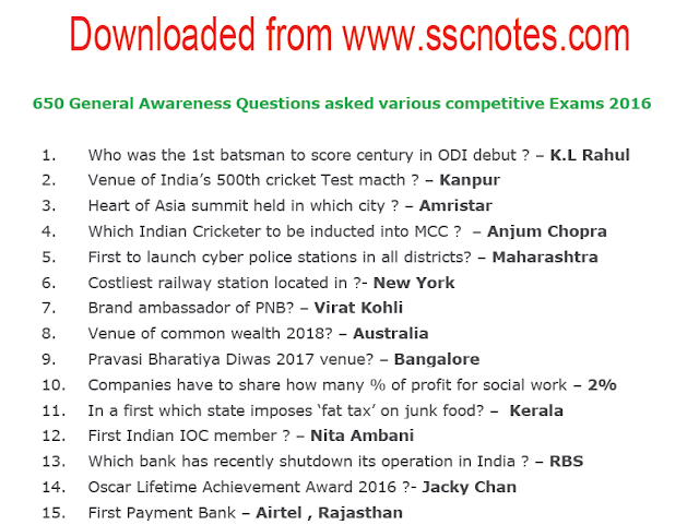 650 General Awareness Questions and Answers were asked various competitive Exams 2016 PDF Download