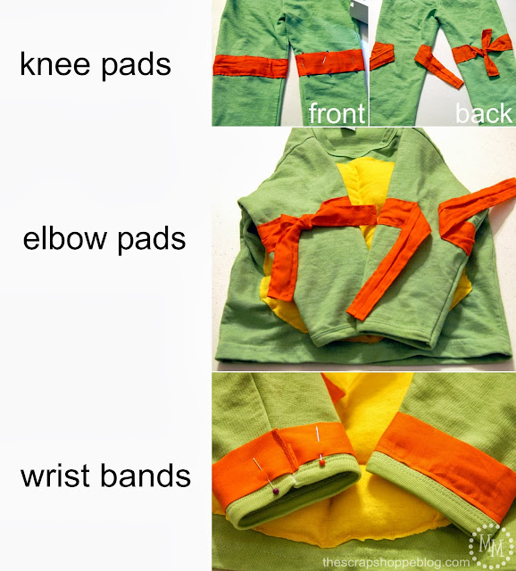 knee pads, elbow pads, and wrist bands for teenage mutant ninja turtle costumes