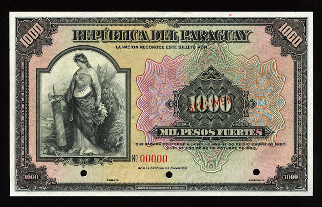 World paper money Paraguay Currency 1000 Pesos old banknote