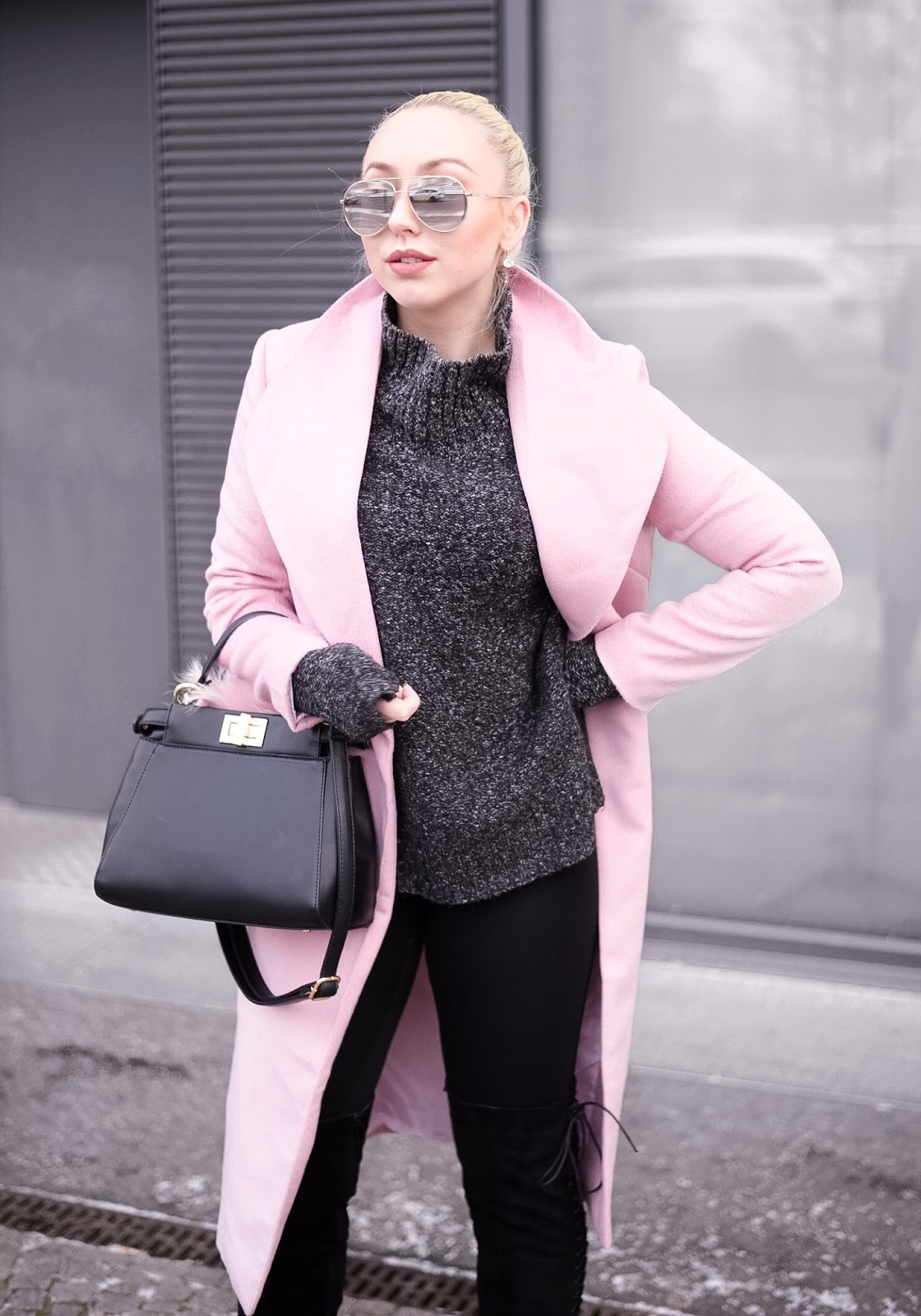 long pink coat_grey turtleneck sweater_dior inspired sunglasses