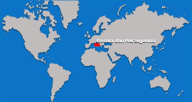 Gambar Peta letak negara Bosnia dan Herzegovina
