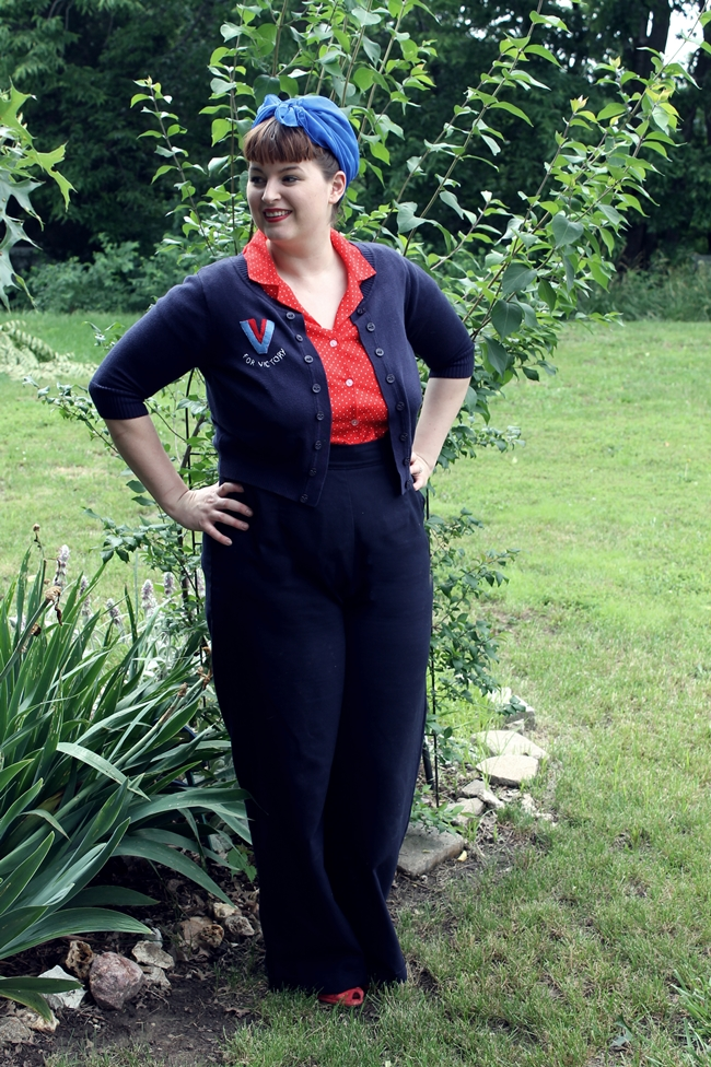 plus size vintage dig for victory cardigan and 1940s womens pants
