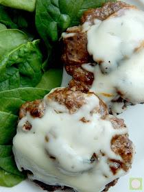 hamburger steaks with cheesy sauteed mushrooms (sweetandsavoryfood.com)