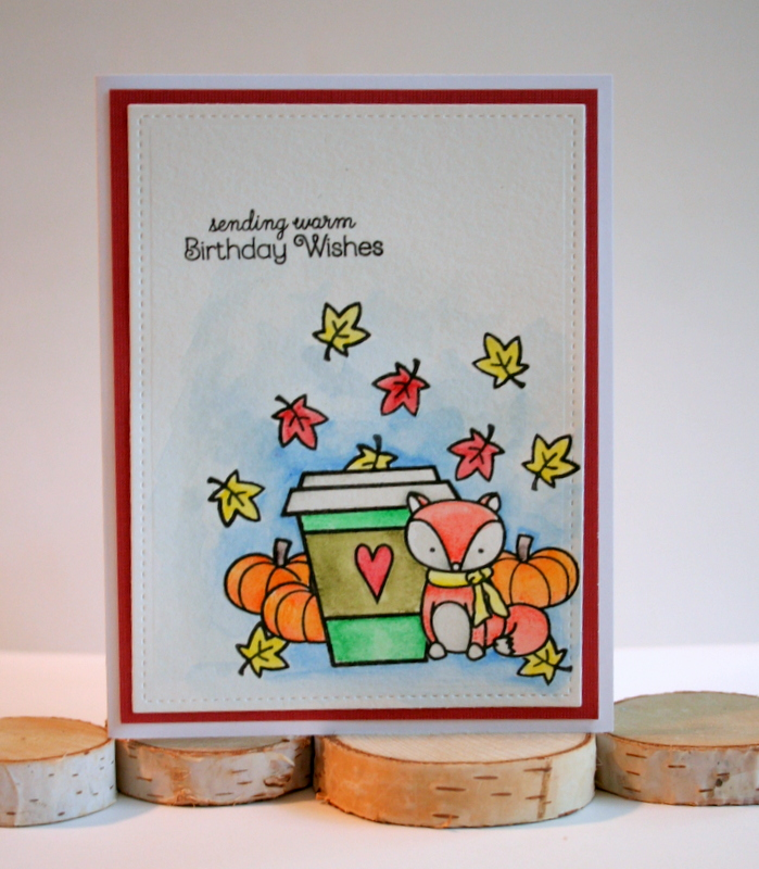 Masking A Fall Coffee Card With Lawn Fawn And Create Smile Stamps Colored Inktense