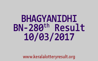 BHAGYANIDHI Lottery BN 280 Results 10-3-2017