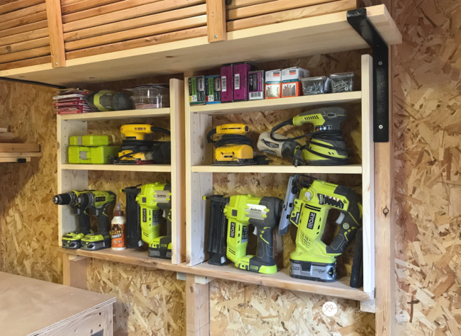 easy way to organize your workshop with adjustable between the studs storage shelves