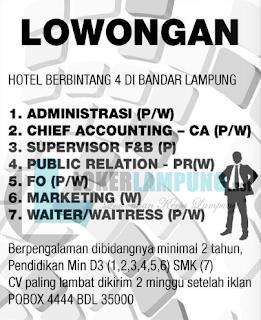 Lowongan Kerja Hotel Bintang 4 di Bandar Lampung Terbaru Juli 2016