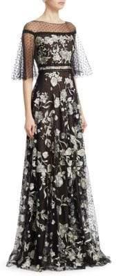 Marchesa Notte Flutter Sleeve Flock Gown