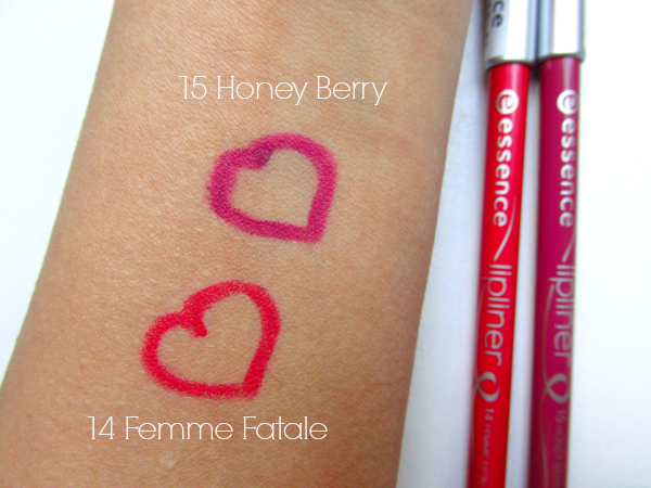 essence lipliner  14 Femme Fatel and 15 Honey Berry swatch