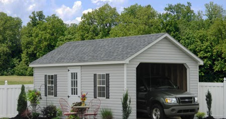 Prefab garage packages from sheds unlimited in lancaster pa for Two car garage packages