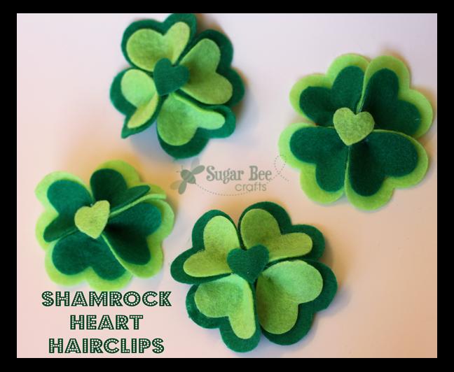 Shamrock Heart Hairclips - Sugar Bee Crafts