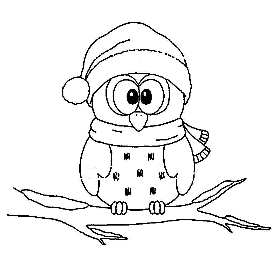 Top 10 cute christmas owl coloring page for kids for Cute coloring pages of owls
