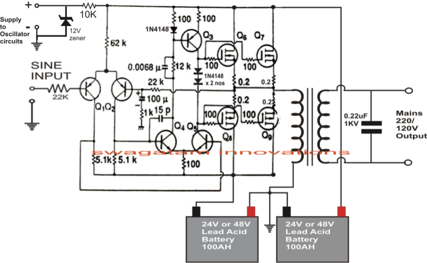 1kva 1000 Watts Pure Sine Wave Inverter Circuit Elec