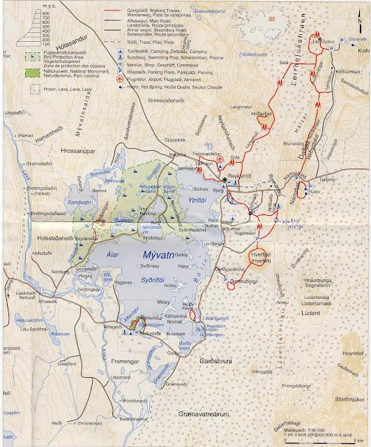 Mapa zona Myvatn y Krafla