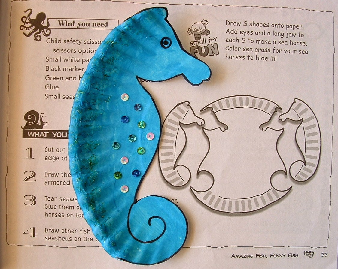 Plastic or Paper Plate Sea Horse.