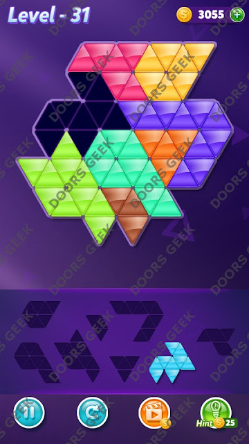 Block! Triangle Puzzle 8 Mania Level 31 Solution, Cheats, Walkthrough for Android, iPhone, iPad and iPod