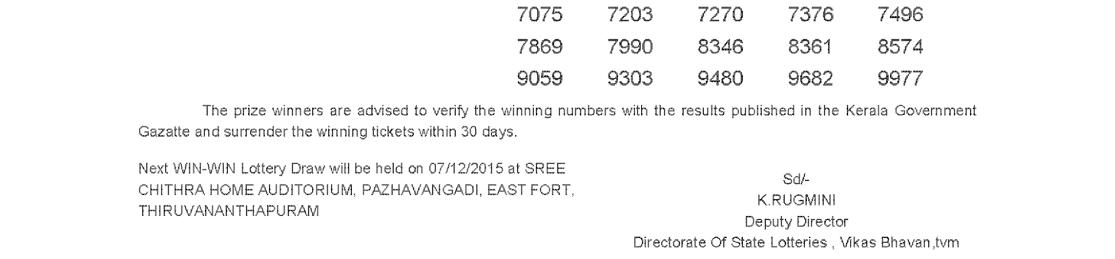 WIN WIN Lottery W 336 Result 30-11-2015